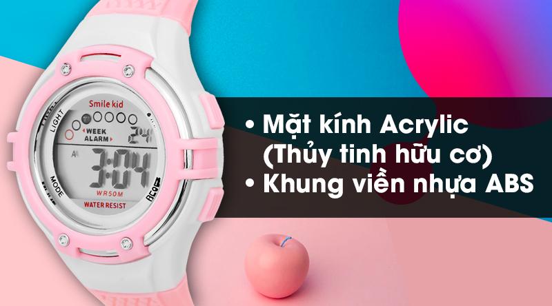 Đồng hồ trẻ em Smile Kid SL004-02 có mặt kính cứng cáp, khung viền bền bỉ
