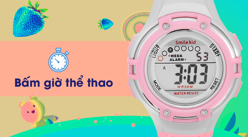 Đồng hồ trẻ em Smile Kid SL004-02 có đồng hồ bấm giờ thể thao