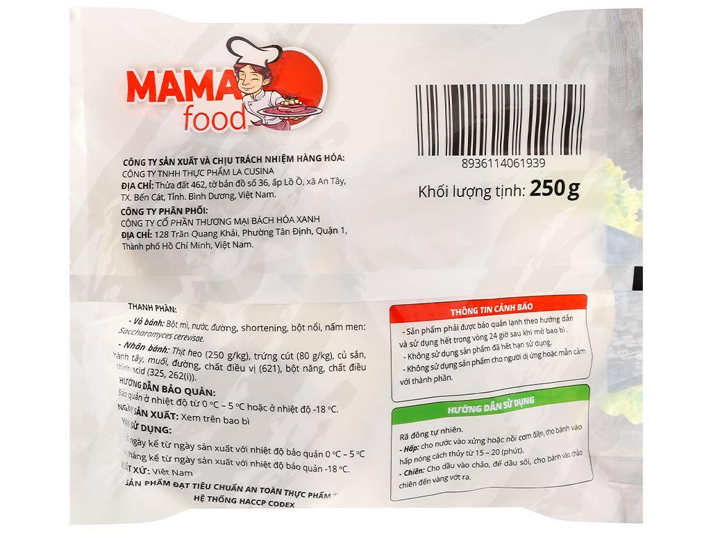 Bánh bao nhân thịt heo trứng cút Mama Food gói 250g 2
