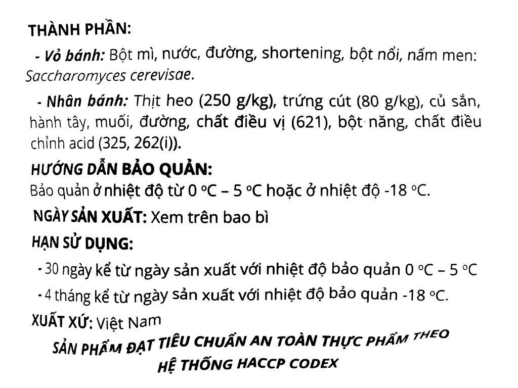 Bánh bao nhân thịt heo trứng cút Mama Food gói 250g 3