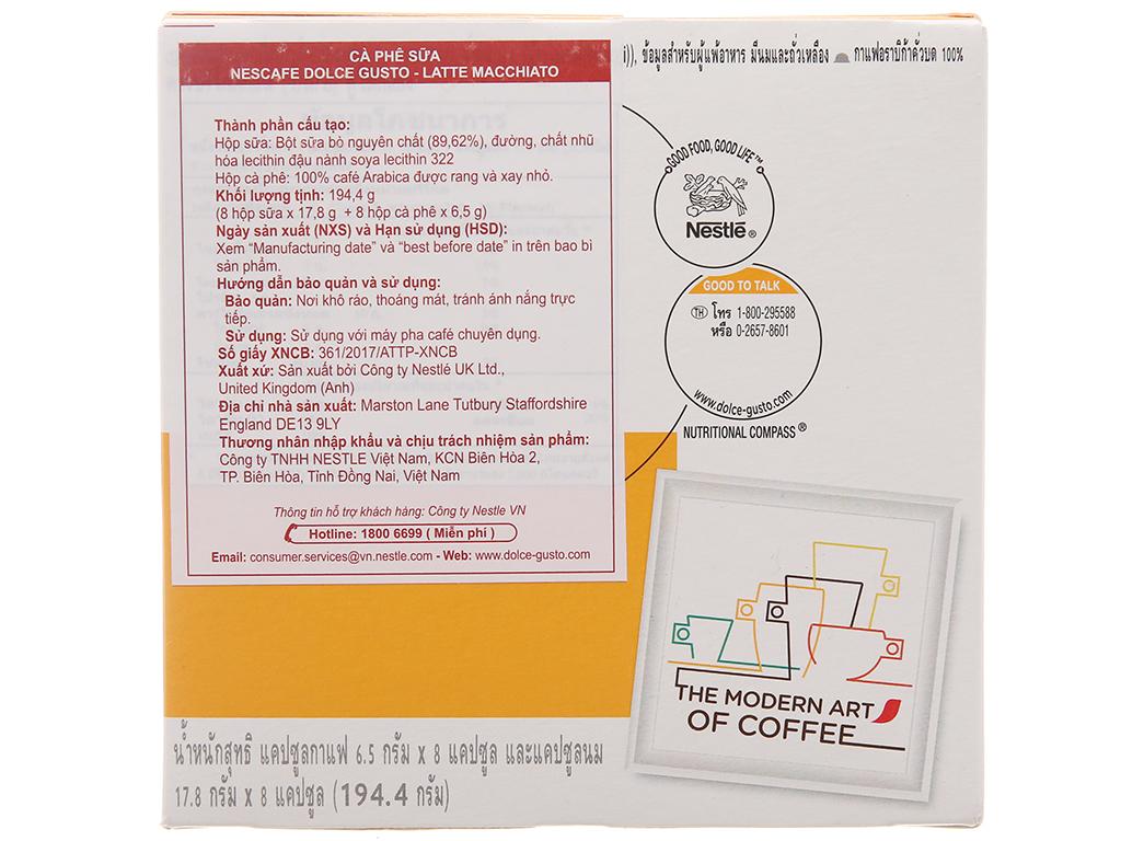 NesCafé Dolce Gusto Latte Macchiato 194.4g (17.8g x 8 viên sữa, 6.5g x 8 viên cà phê) 3