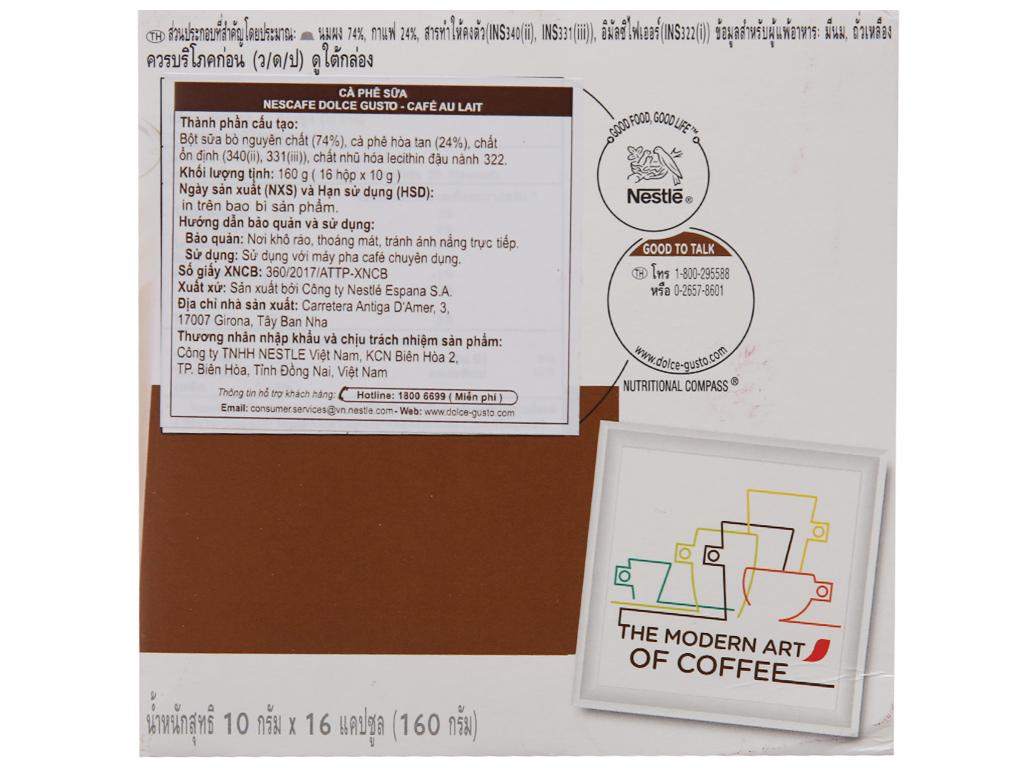 NesCafé Dolce Gusto Café Au Lait 160g (10g x 16 viên) 3
