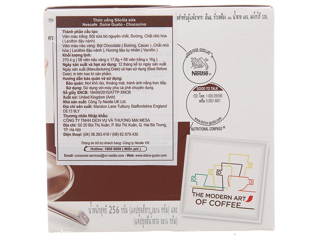 16 viên nén NesCafé Dolce Gusto Chococino socola sữa 270.4g (17.8g x 8 viên nâu vàng, 16g x 8 viên trắng) 2