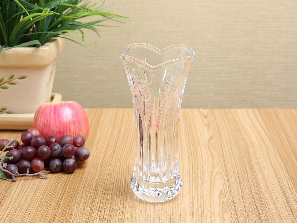 Bình hoa thủy tinh trắng Chung Mộc Hùng 18.5cm 1