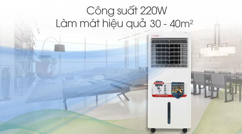 Công suất và diện tích làm mát Quạt điều hòa Sunhouse SHD7721