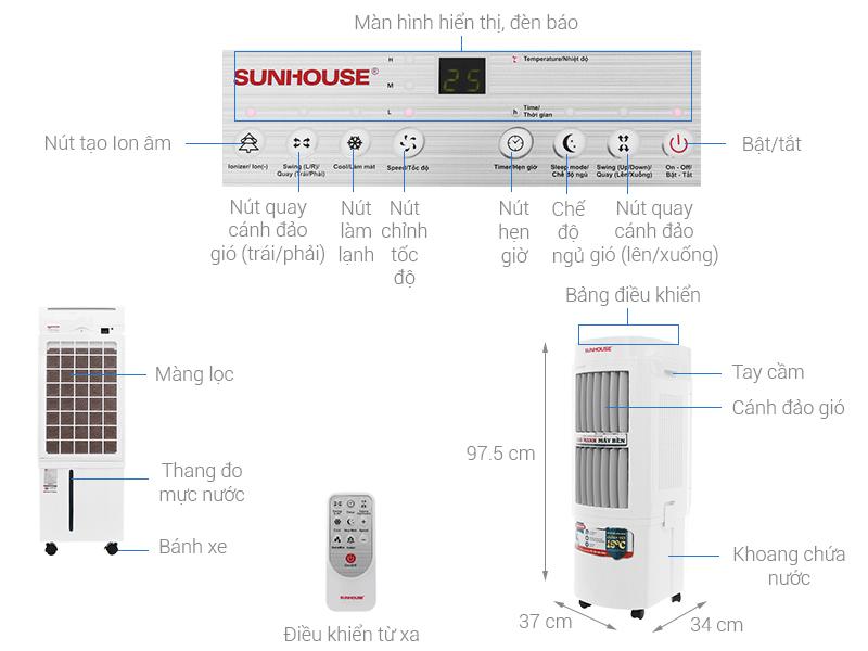 Thông số kỹ thuật Quạt điều hòa Sunhouse  SHD7723