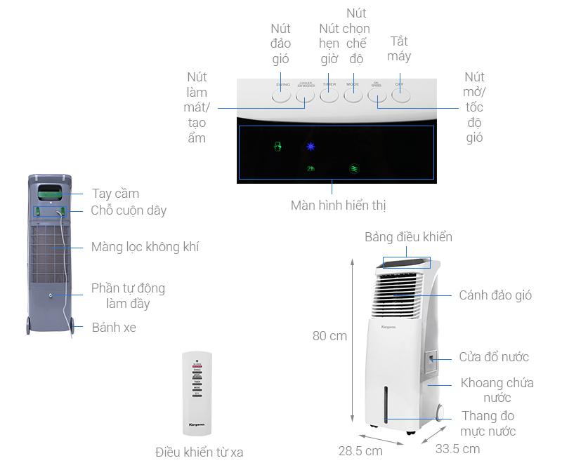 Thông số kỹ thuật Quạt điều hòa Kangaroo KG50F50
