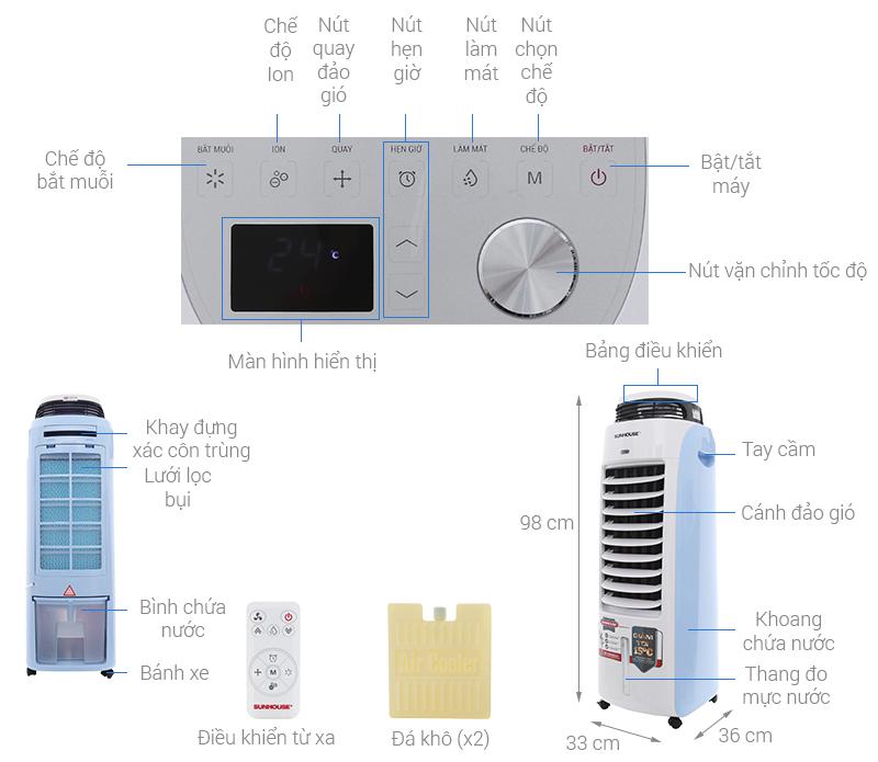 Thông số kỹ thuật Quạt điều hòa Sunhouse SHD7718