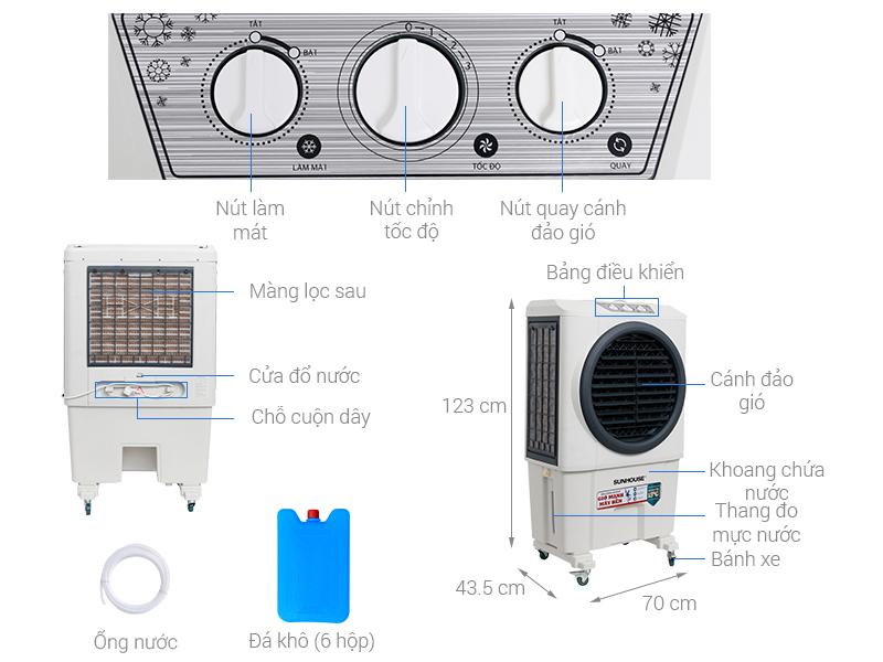 Thông số kỹ thuật Quạt điều hòa Sunhouse SHD7751