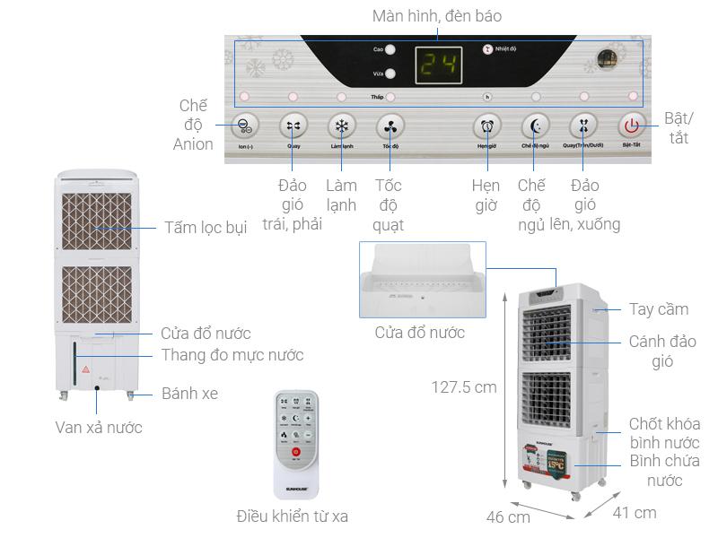 Thông số kỹ thuật Quạt điều hòa Sunhouse SHD7756