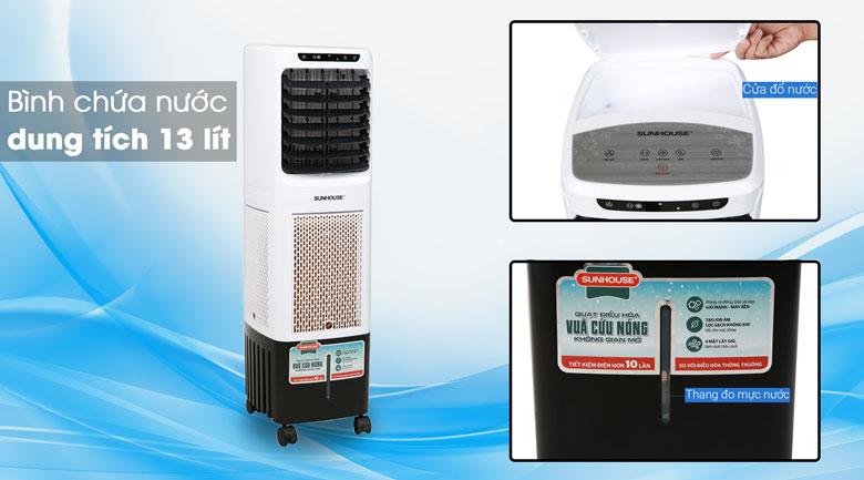Dung tích bình chứa nước là 13 lít - Quạt điều hoà Sunhouse SHD7713
