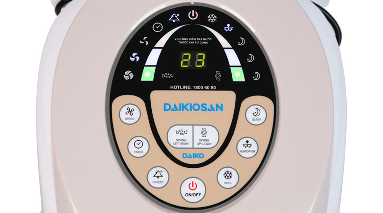 Điều khiển nút nhấn và màn hình hiển thị rõ nét - Quạt điều hoà Daikiosan DKA-01500B