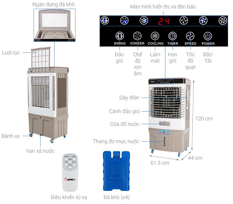Thông số kỹ thuật Quạt điều hòa không khí Rapido 9000D