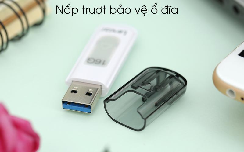 USB 3.0 Lexar V100 JumpDrive 16 GB Trắng Xám có nắp trượt bảo vệ ổ đĩa
