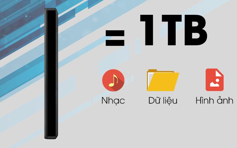 Ổ cứng HDD 1TB Seagate Backup Plus Slim đen có dung lượng lưu trữ lớn