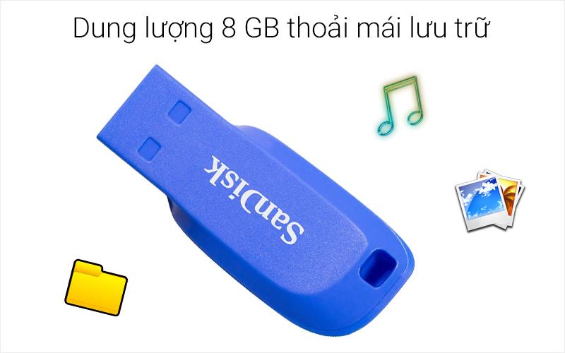 USB 2.0 8 GB Sandisk SDCZ50 có dung lượng lớn