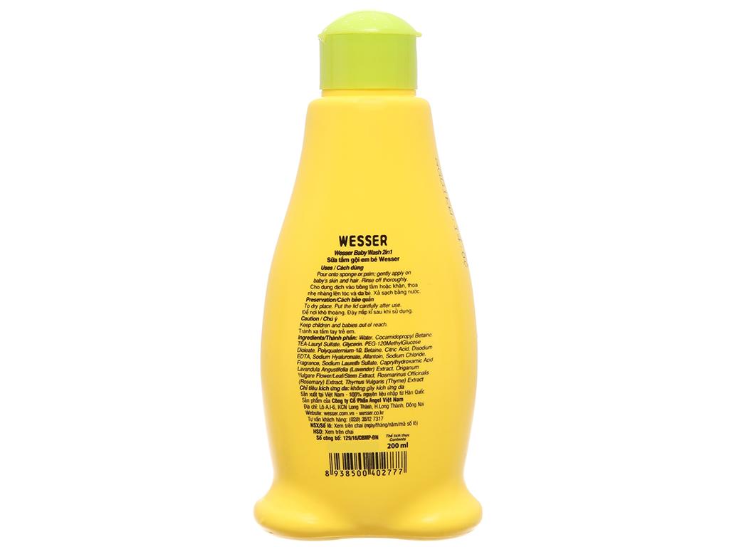Sữa tắm gội cho bé Wesser cỏ xạ hương 200ml 3