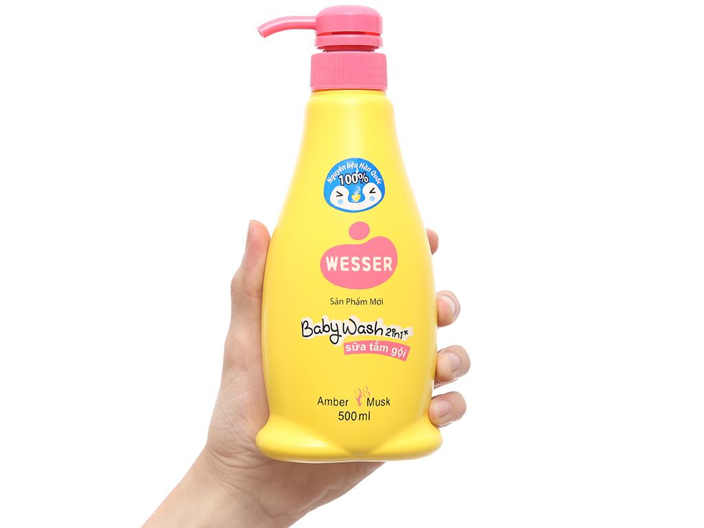 Tắm gội cho bé Wesser hổ phách, xạ hương 500ml 4