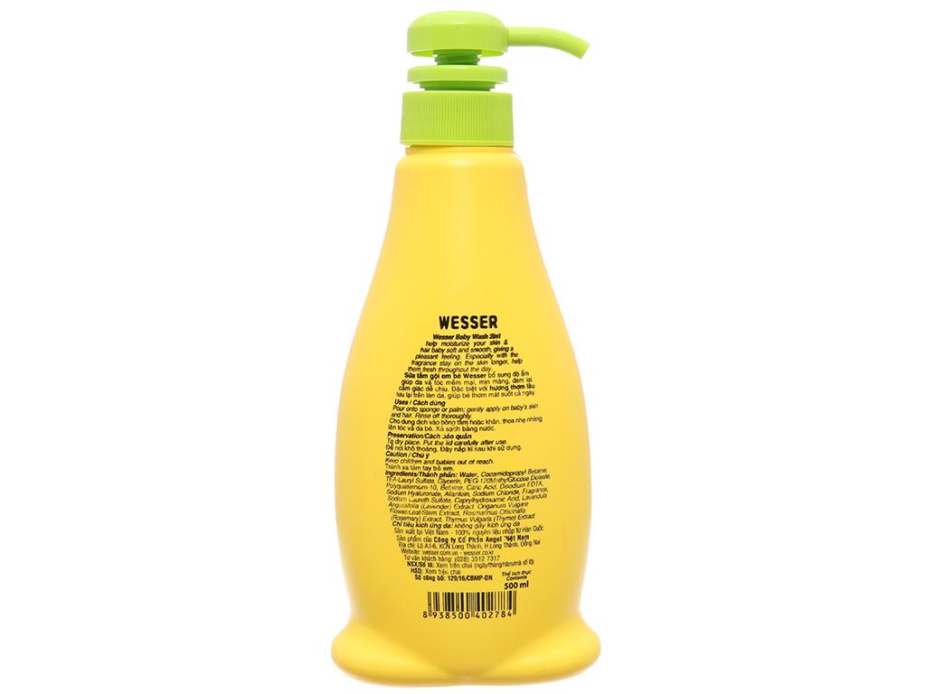 Tắm gội cho bé Wesser cỏ xạ hương 500ml 3