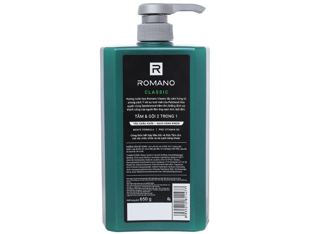 Tắm gội Romano Classic nước hoa 650g 2