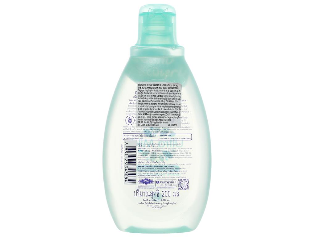 Sữa tắm gội trẻ em Babi Mild Pure Natural 200ml 2