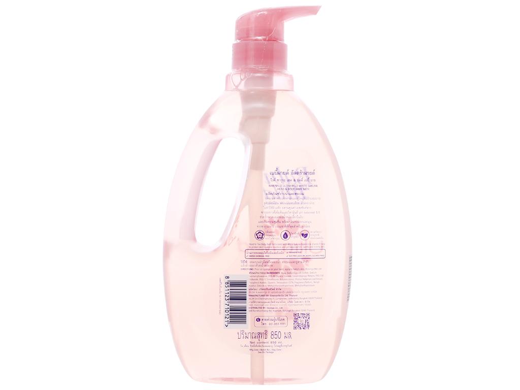 Sữa tắm gội trẻ em Babi Mild White Sakura 850ml 2