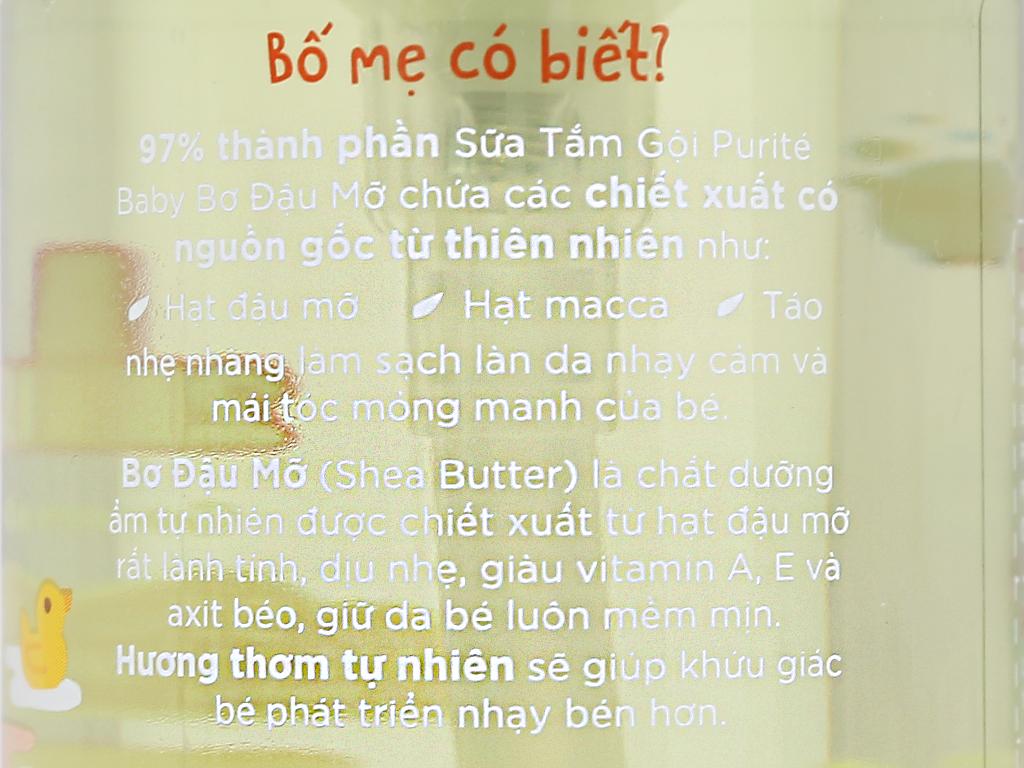 Sữa tắm gội cho bé Purité Baby bơ đậu mỡ 250ml 5