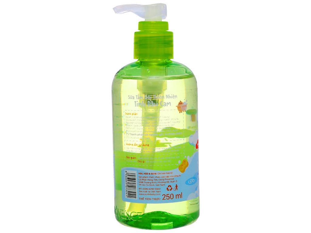 Sữa tắm gội cho bé Purité Baby tinh dầu cam 250ml 4