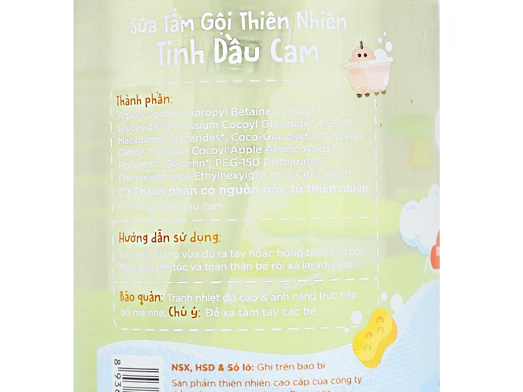 Sữa tắm gội cho bé Purité Baby tinh dầu cam 250ml 5