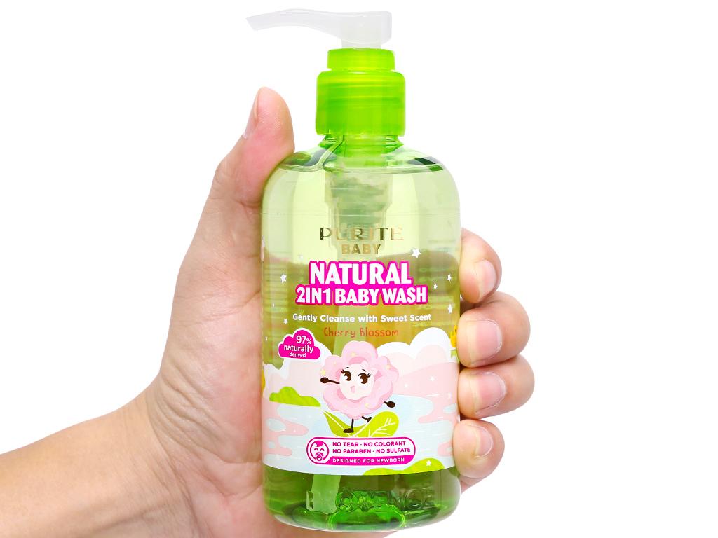 Sữa tắm gội cho bé Purité Baby hoa anh đào 250ml 7