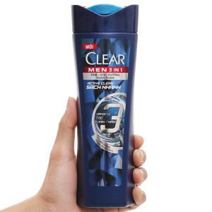 Tắm gội Clear men 3 in 1 sạch nhanh 333ml