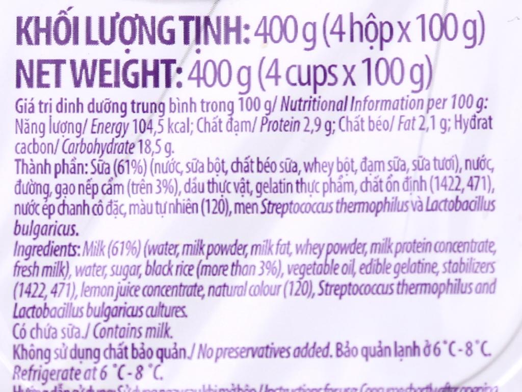 Lốc 4 hộp sữa chua nếp cẩm Vinamilk 100g 4