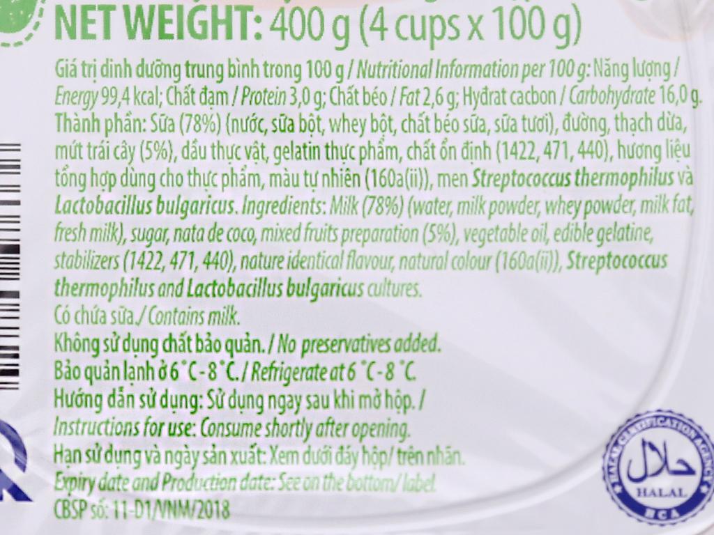 Lốc 4 hộp sữa chua trái cây Vinamilk 100g 5