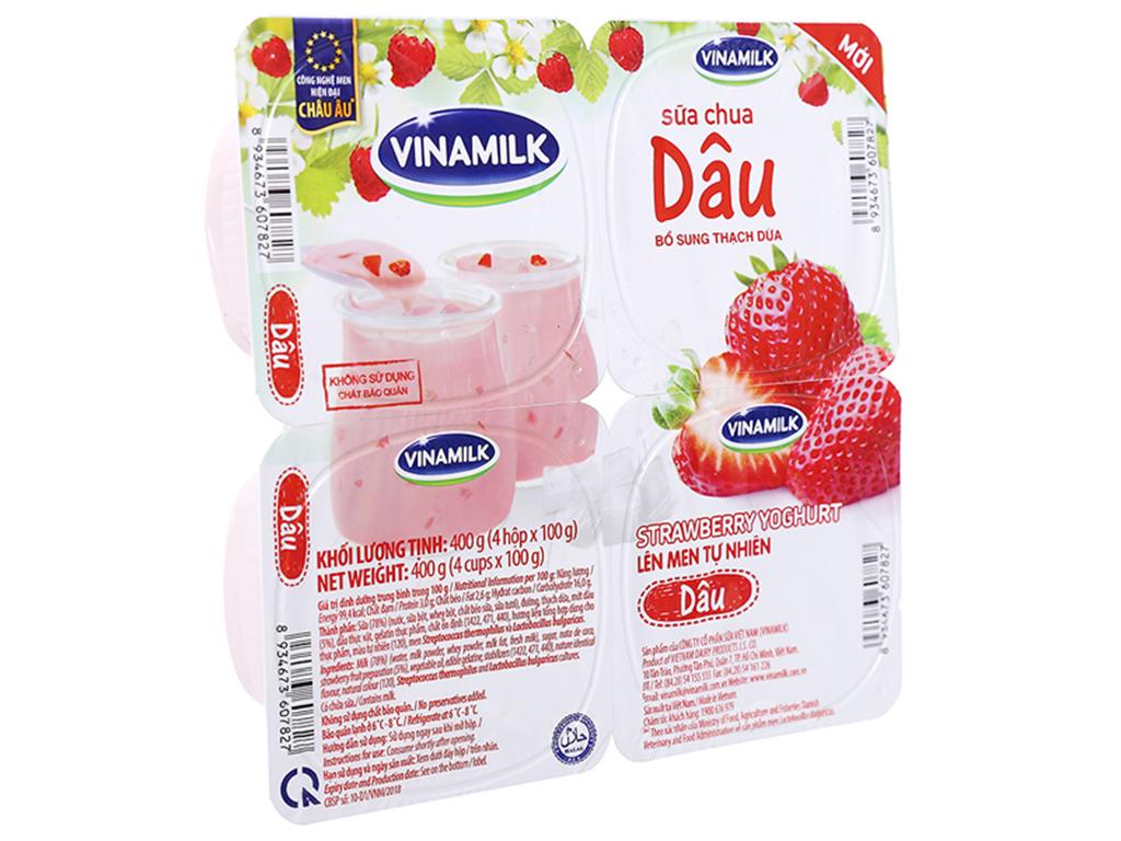 Lốc 4 hộp sữa chua dâu Vinamilk 100g 1