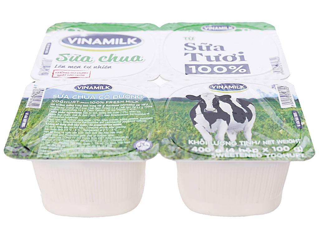 Lốc 4 hộp sữa chua có đường Vinamilk từ 100% sữa tươi 100g 2