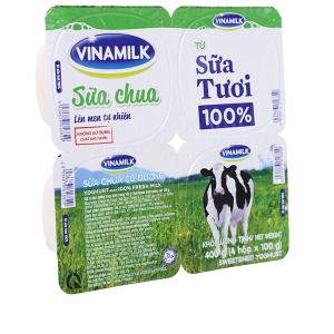Lốc 4 hộp sữa chua có đường Vinamilk từ 100% sữa tươi 100g