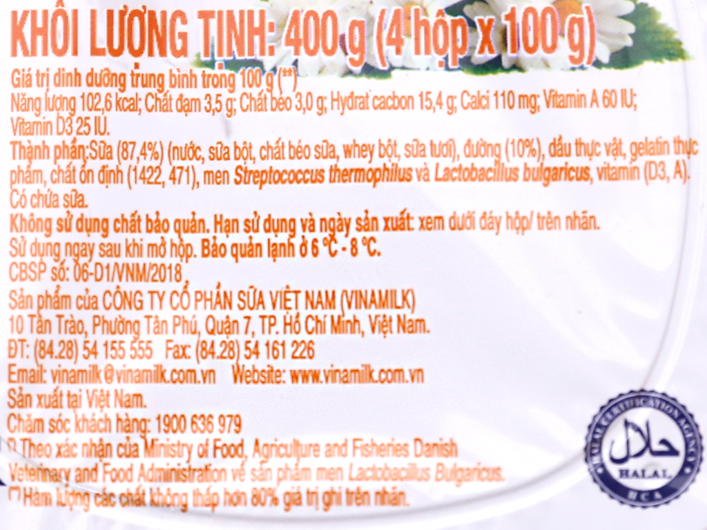 Lốc 4 hộp sữa chua có đường Vinamilk 100g 11