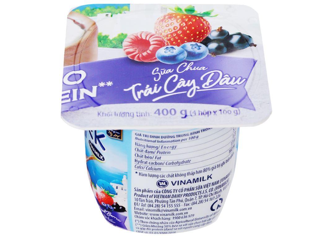 Lốc 4 hộp sữa chua trái cây dâu Vinamilk Greek Yoghurt 100g 4