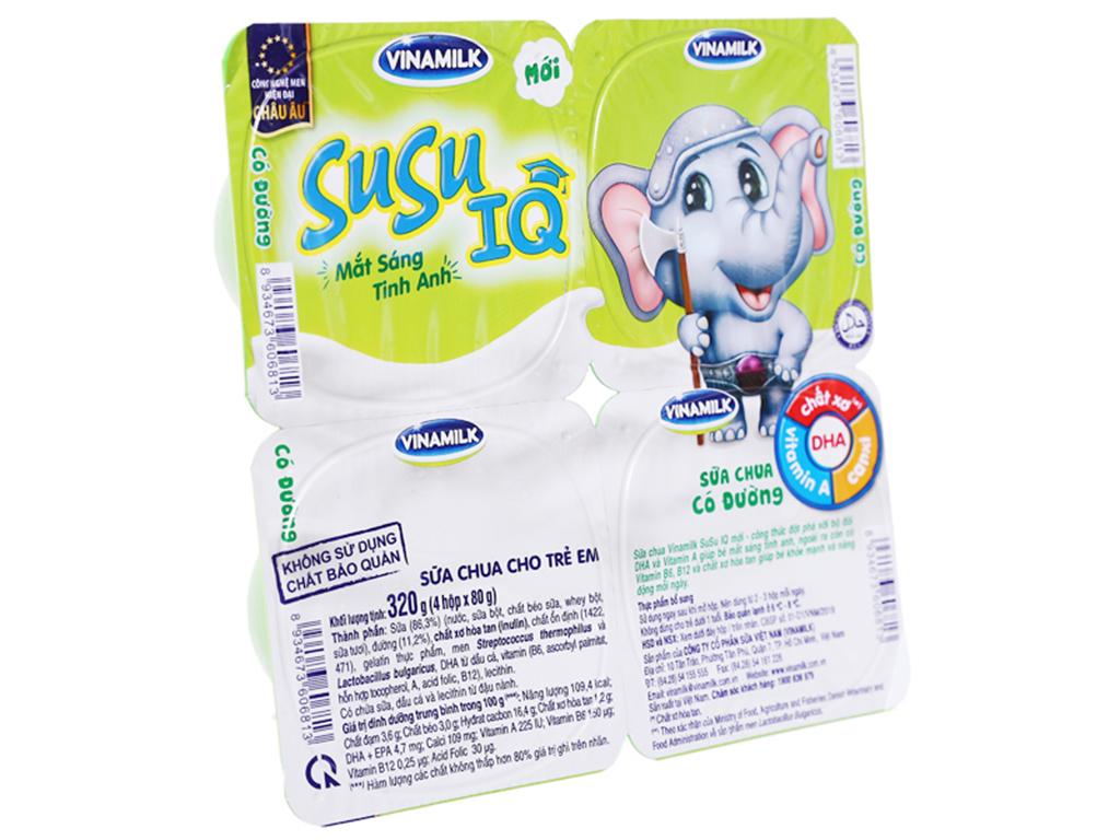 Lốc 4 hộp sữa chua cho trẻ em có đường SuSu 80g 1