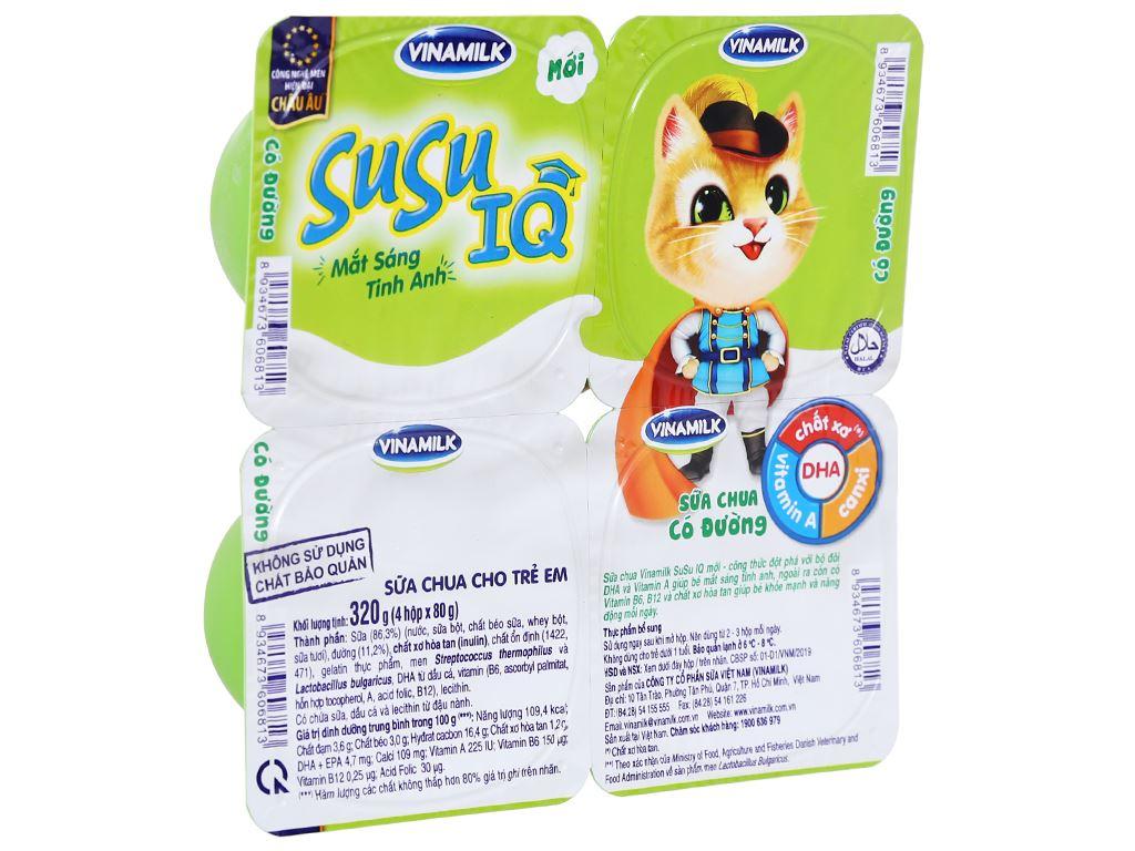 Lốc 4 hộp sữa chua cho trẻ em có đường SuSu IQ 80g 1