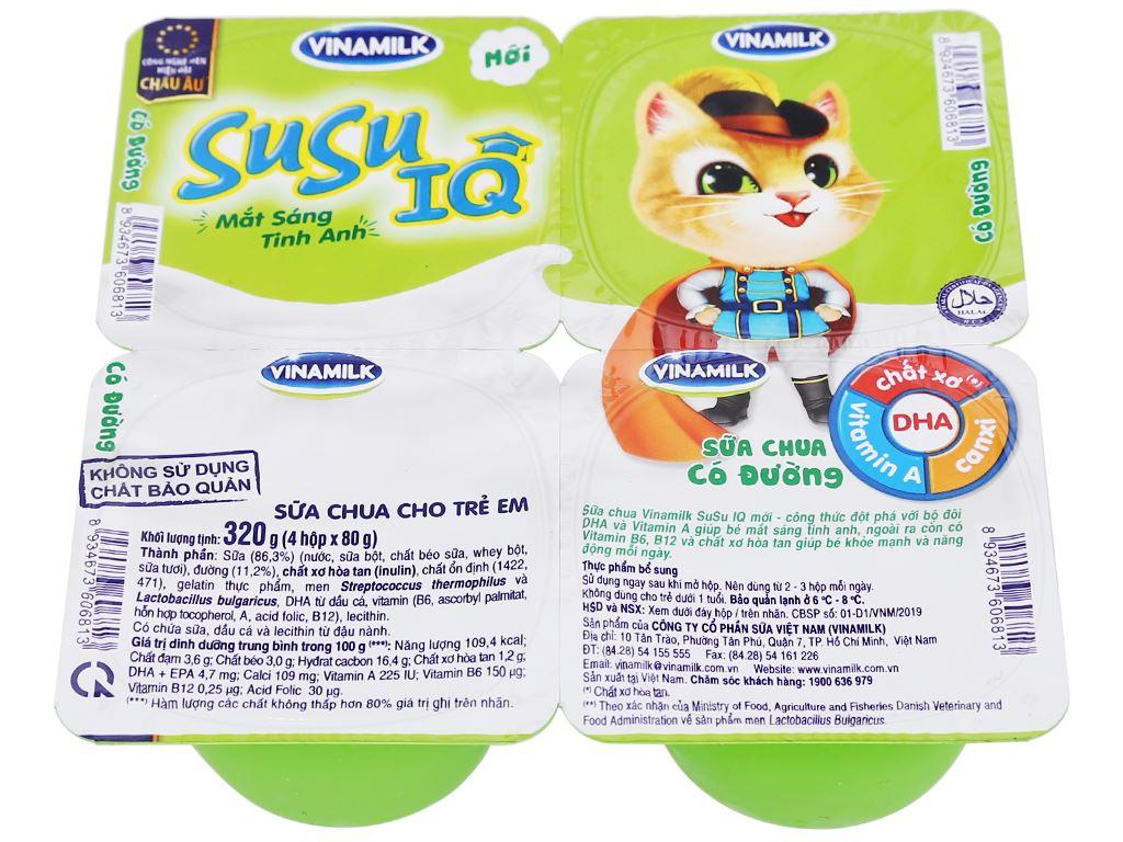 Lốc 4 hộp sữa chua cho trẻ em có đường SuSu IQ 80g 2