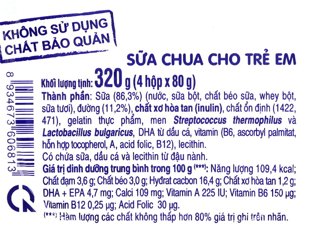 Lốc 4 hộp sữa chua cho trẻ em có đường SuSu IQ 80g 4