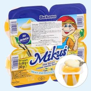 Lốc 4 hộp váng sữa Mikus vị kem - vani 60g