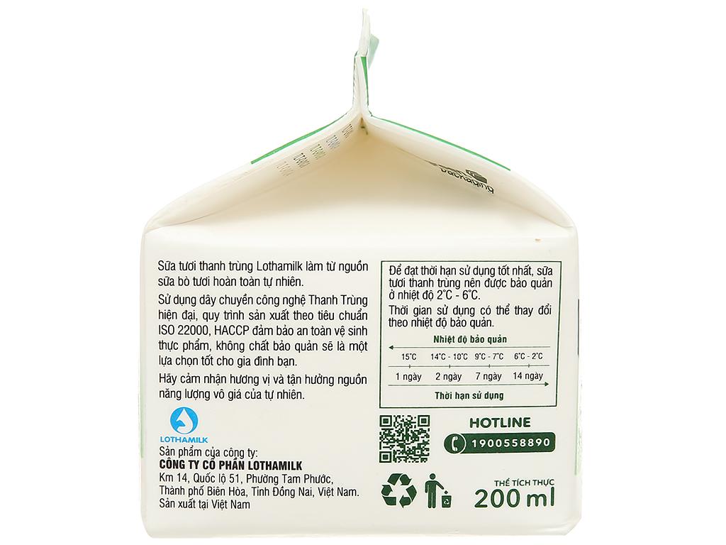 Sữa tươi thanh trùng có đường Lothamilk hộp 200ml 4