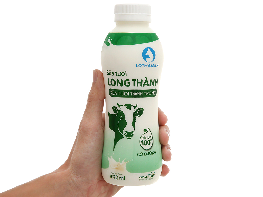 Sữa tươi thanh trùng có đường Lothamilk chai 490ml 5