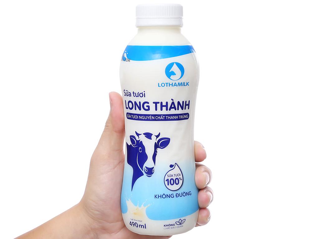 Sữa tươi thanh trùng không đường Lothamilk chai 490ml 5