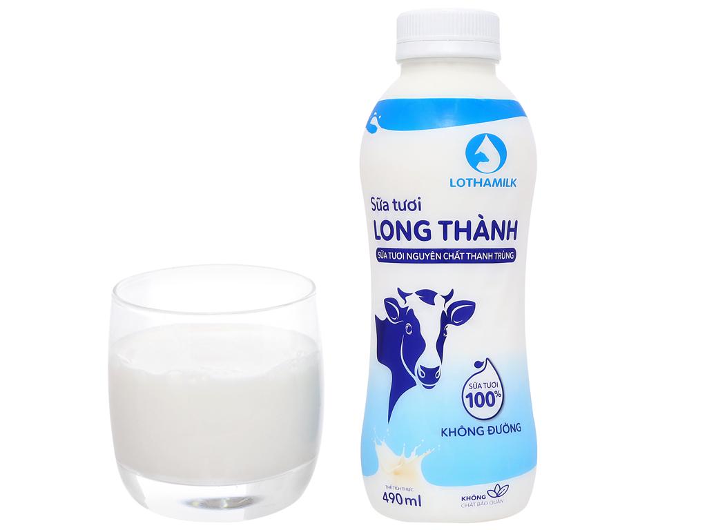 Sữa tươi thanh trùng không đường Lothamilk chai 490ml 6