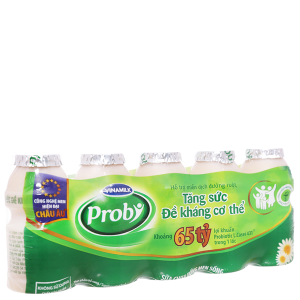 Lốc 5 chai sữa chua uống men sống có đường Vinamilk Probi 65ml