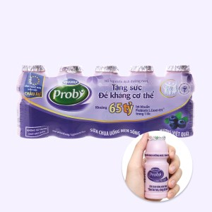 Lốc 5 chai sữa chua uống men sống việt quất Vinamilk Probi 65ml