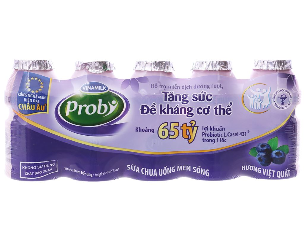 Lốc 5 chai sữa chua uống men sống việt quất Vinamilk Probi 65ml 5
